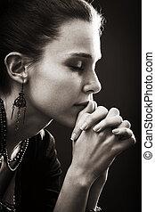 geloof, vrouw, -, gebed, religie