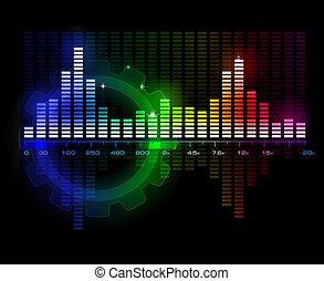 geluid, vector, spectrum, analyzer, golf