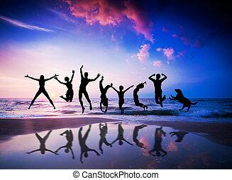 geluk, strand., dog, springt, mensen