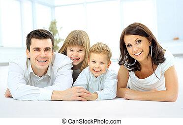 gelukkig glimlachen, gezin