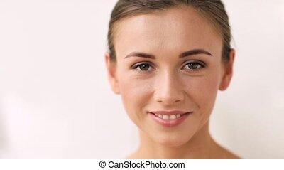 gelukkig glimlachen, vrouw, jonge, gezicht