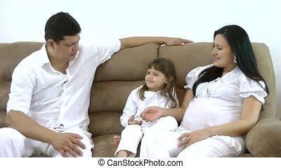 gelukkige familie, bankstel