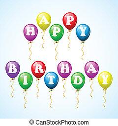 gelukkige verjaardag, ballons, viering
