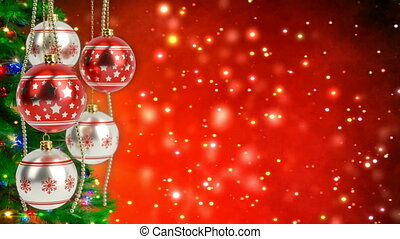gelul, loop., render, seamless, zilver, achtergrond., bokeh, schitteren, kerstmis, rood, 3d