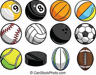gelul, sporten, verzameling, vector