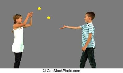 gelul, tennis, spelend, siblings