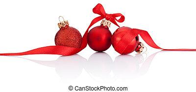 gelul, vrijstaand, lint, boog, drie, achtergrond, witte kerst, rood