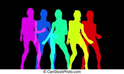 gemaakt, abstract, disco, silhouettes, danser, sexy
