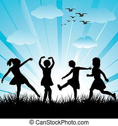 gemaakt, kinderen, silhouettes, hand, gras, spelend