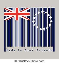 gemaakt, kleur, unie, streepjescode, vlag, ster, jack., blauwe , text:, ring, set, cook, islands., ensign, eilanden
