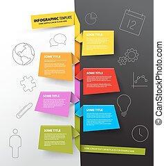 gemaakt, kleurrijke, tijdsverloop, infographic, mal, papieren, rapport