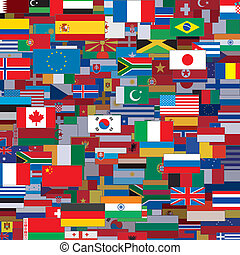 gemaakt, mal, vector, achtergrond, wereld, flags.