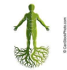 gemaakt, oud, man, god, concept., atletisch, boompje, keltisch, roots., vector