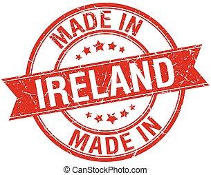 gemaakt, postzegel, ouderwetse , ierland, ronde, rood