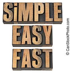 gemakkelijk, vasten, eenvoudig, hout, type