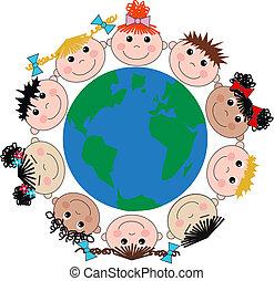 gemengd etnisch, kinderen, vrolijke