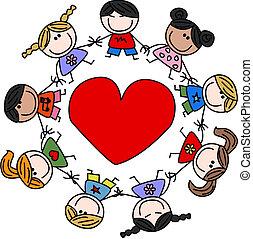 gemengd etnisch, liefde, kinderen, vrolijke