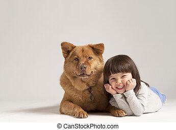 gemengd, vrolijk, dog, kind