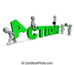gemotiveerde, karakters, activiteit, actie, of, proactive, optredens