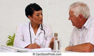 geneeskunde, arts, het verklaren, patie
