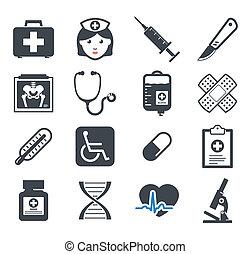 geneeskunde, set, iconen