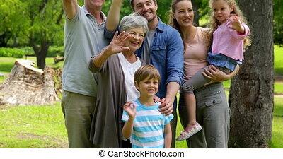 generatie, multi, familie poserend