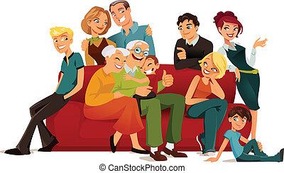 generatie, multi, gezin
