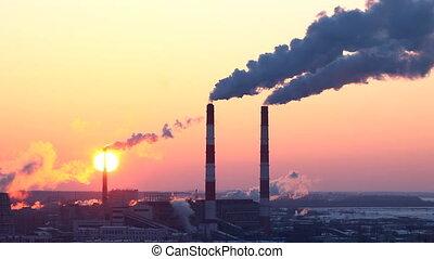 generatie, zon, energie, pijp, rook
