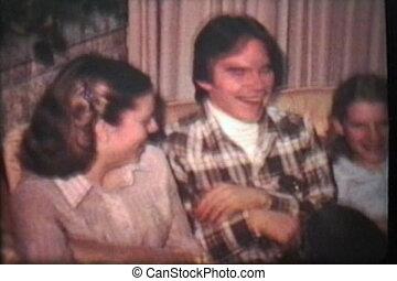genieten, boompje, tieners, 1980, kerstmis