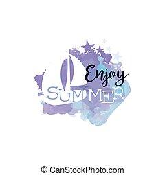 genieten, zomer, watercolor, etiket, stylized, boodschap