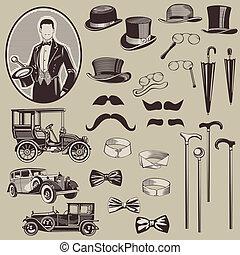 gentlemen's, oud, auto's, -, accessoires, hoog, vector, set-, kwaliteit