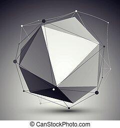 geometrisch, vector, abstract, voorwerp, 3d