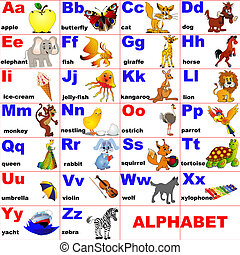 geplaatste, dieren, brief, alfabet