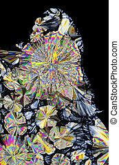 gepolariseerd licht, citric, microscopisch, kristallen, zuur, aanzicht