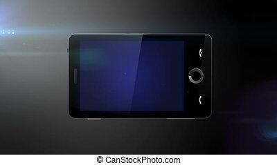 gereed, beweeglijk, blauwe , telefoon, scherm