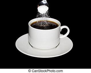 geregen, koffie, suiker, lepel, kop