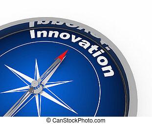 gereproduceerd, concept, 3d, illustratie, kompas