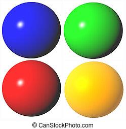 gereproduceerd, gekleurde, abstract, hoog, bolen, kwaliteit, 3d