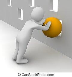 gereproduceerd, illustration., hole., bal, door, duw, man, sinaasappel, kleine, het proberen, 3d