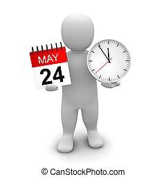gereproduceerd, illustration., klok, calendar., vasthouden, 3d, man