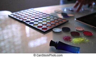 geschikte, kunstenaar, makeup, schoonheidsmiddel, achtergrond, producten, schoonheidsmiddelen, sterretjes, schikt, sequin