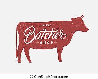 geschreven, hand, lettering, winkel, logo, slager