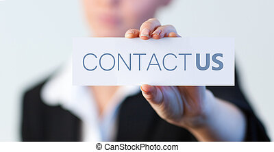 geschreven, informatietechnologie, vasthouden, etiket, businesswoman, contacteer ons