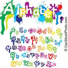 gespetter, -, hand, kleuren, brieven, inkt, font., verf , splatter, getrokken, gemaakt, alfabet, water