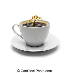 gespetter, koffie, druppel, kop