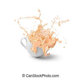 gespetter, koffie, melk, kop