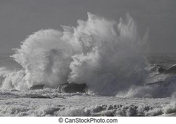 gespetter, stormachtige zee, golf