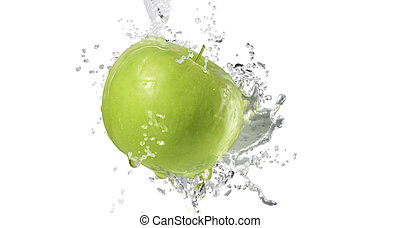 gespetter, vrijstaand, witte , appeltjes , water, achtergrond