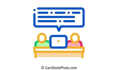 gesprek, animatie, pictogram, zakenlui