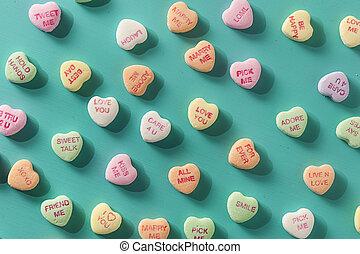 gesprek, hartjes, dag, versuikeren, valentine